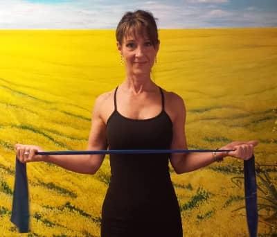 Denise demonstrating Resisted Shoulder External Rotation, second picture.